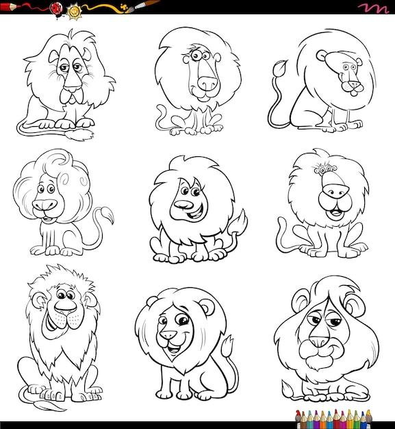 Stripfiguren leeuwen stripfiguren instellen kleurboekpagina Premium Vector