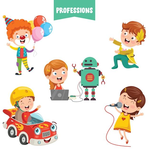 Stripfiguren van verschillende beroepen Premium Vector