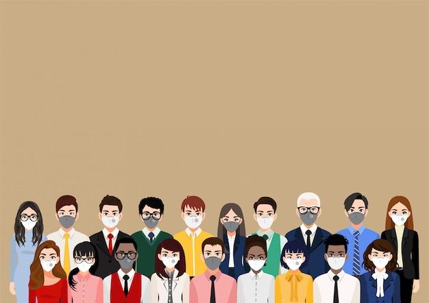 Stripfiguur met mensen die gezichtsmaskers of medische maskers dragen, luchtverontreiniging, vervuilde lucht, wereldverontreiniging, ziekte, griep, gasmasker, coronavirus voorkomen. vlakke afbeelding Premium Vector