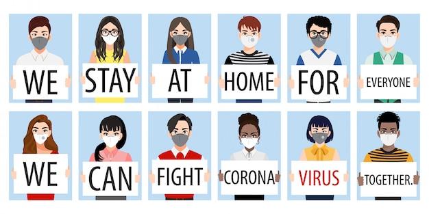 Stripfiguur met mensen die posters tonen, voorkomen dat coronavirus en covid-19 zich verspreiden door thuis te blijven en samen te vechten. coronavirus ziekte bewustzijn vector Premium Vector