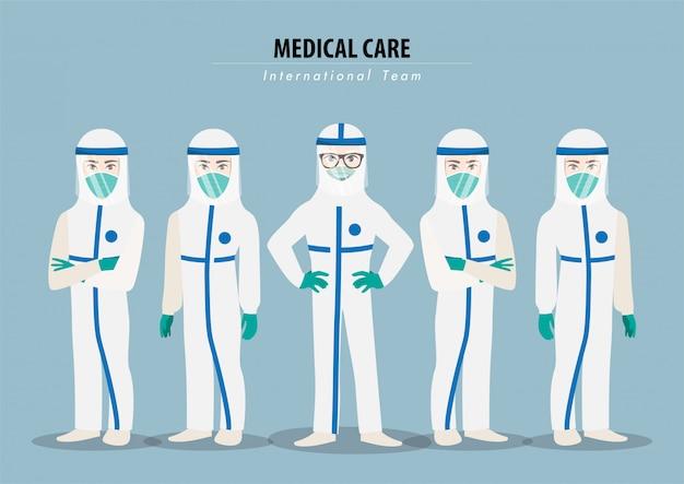 Stripfiguur met professionele artsen die beschermende suite dragen en samen staan om het coronavirus te bestrijden Premium Vector