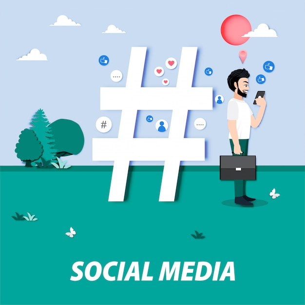 Stripfiguur met sociale media en een grote hashtag, likes, volgers. influencer, blogger die online inhoud maakt. media marketing, seo, content manager job cartoon Premium Vector