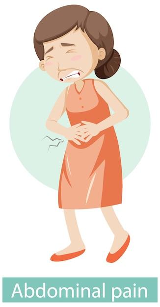 Stripfiguur met symptomen van buikpijn Gratis Vector