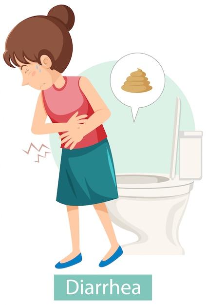 Stripfiguur met symptomen van diarree Gratis Vector