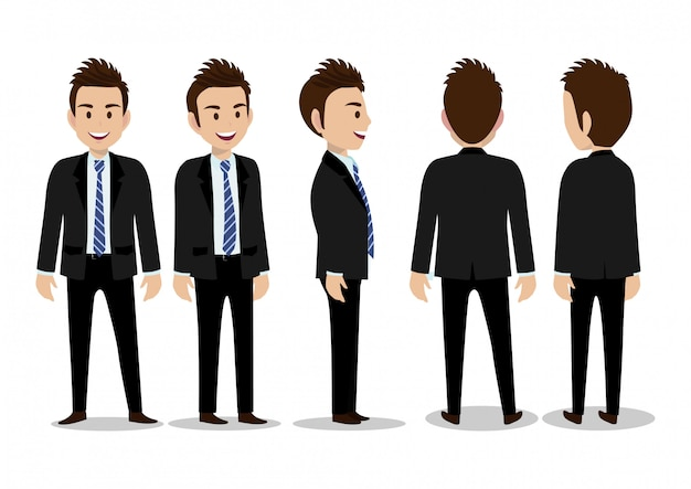 Stripfiguur met zakenman in pak voor animatie. voorkant, zijkant, achterkant, 3/4 gezichtspunt. afzonderlijke delen van het lichaam. platte vectorillustratie Premium Vector