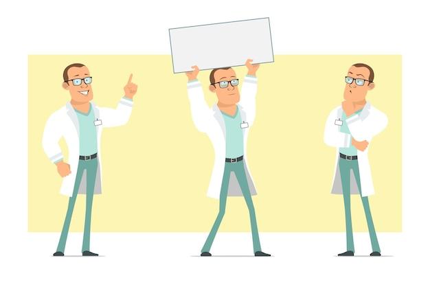 Stripfiguur plat grappige sterke dokter man in wit uniform en glazen. jongen denken en houden blanco papier teken voor tekst. klaar voor animatie. geïsoleerd op gele achtergrond. set. Premium Vector