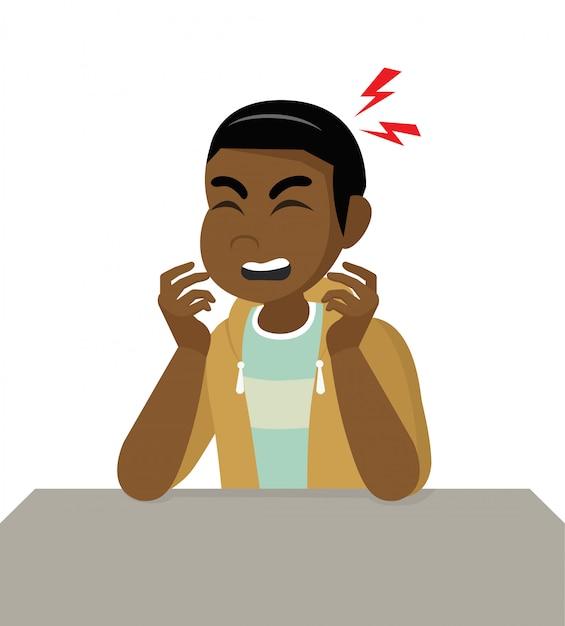 Stripfiguur poses, afrikaanse man met hoofdpijn, ziekte van het hoofd, hoofd vasthouden. migraine, gezondheidsproblemen, pijnhoofd, stresswerk, moe, lijden, emotie, hoofdpijn, gefrustreerd. Premium Vector