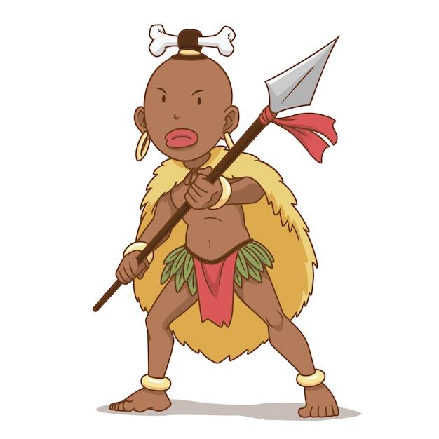 Stripfiguur van afrika inheemse man met speer. Premium Vector