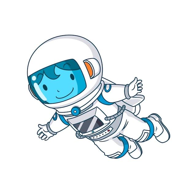 Stripfiguur van astronaut zwevend, illustratie. Premium Vector