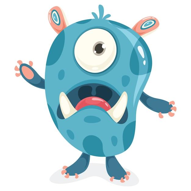 Stripfiguur van grappige kleine monster Premium Vector
