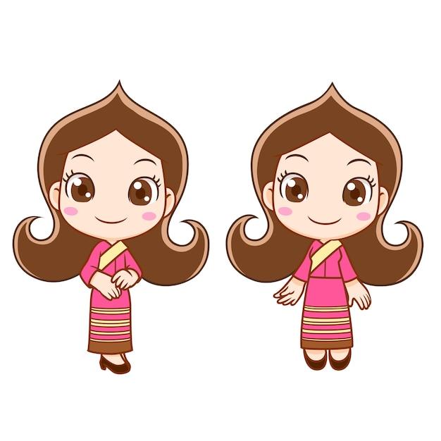 Stripfiguur van receptie meisje in thaise jurk. Premium Vector