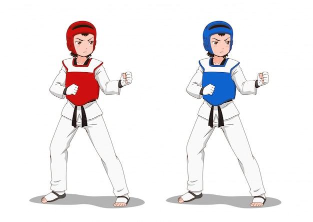 Stripfiguur van taekwondo meisje. Premium Vector