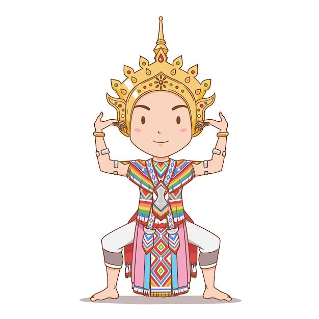 Stripfiguur van traditionele thaise danser in zuid-thailand. manorah-dans. Premium Vector