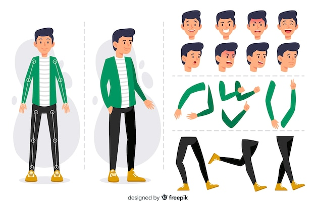 Stripfiguur voor motion design Gratis Vector