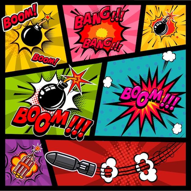 Strippagina mockup met gekleurde achtergrond. bom, dynamiet, explosies. element voor poster, kaart, print, banner, flyer. beeld Premium Vector
