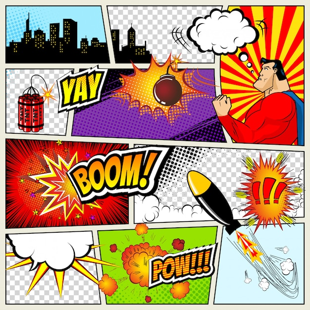 Stripsjabloon. retro comic book tekstballonnen illustratie Premium Vector