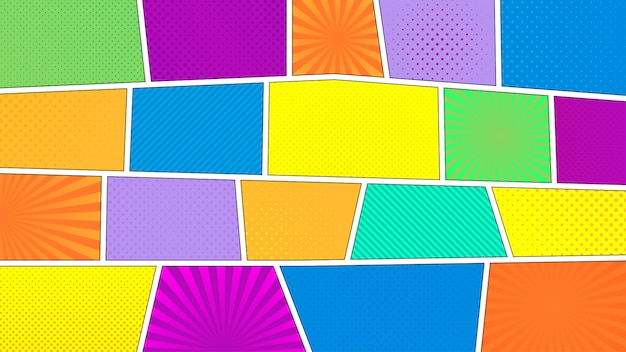 Stripverhaal achtergrond. verschillende kleurrijke panelen. stralen, lijnen, punten. Premium Vector