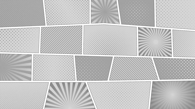 Stripverhaal zwart-wit achtergrond. verschillende kleurrijke panelen. stralen, lijnen, punten. Premium Vector