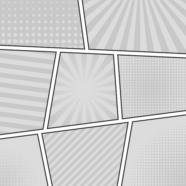 Stripverhaal zwart-wit achtergrond. verschillende panelen. stralen, lijnen, punten. Premium Vector