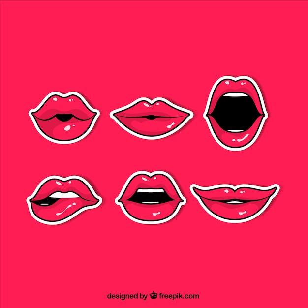 Stripverpakking van rode lippen stickers Gratis Vector
