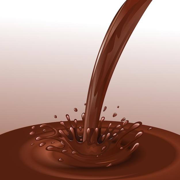 Stroom van de snoepjes de dessert gesmolten chocolade met plonsen vectorillustratie als achtergrond Gratis Vector