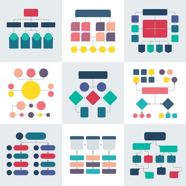 Stroomdiagramschema's en hiërarchiediagrammen, elementen van werkstroomdiagrammen Premium Vector
