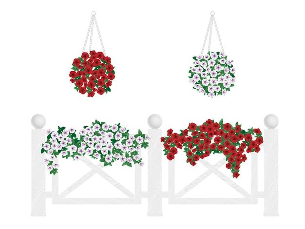 Struiken en bloemen in potten en opknoping op het hek. Premium Vector