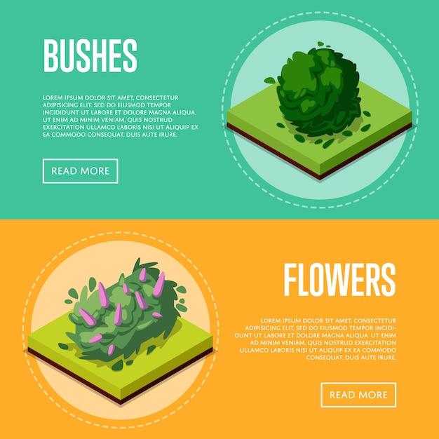 Struiken en bloemen voor parkposters Premium Vector