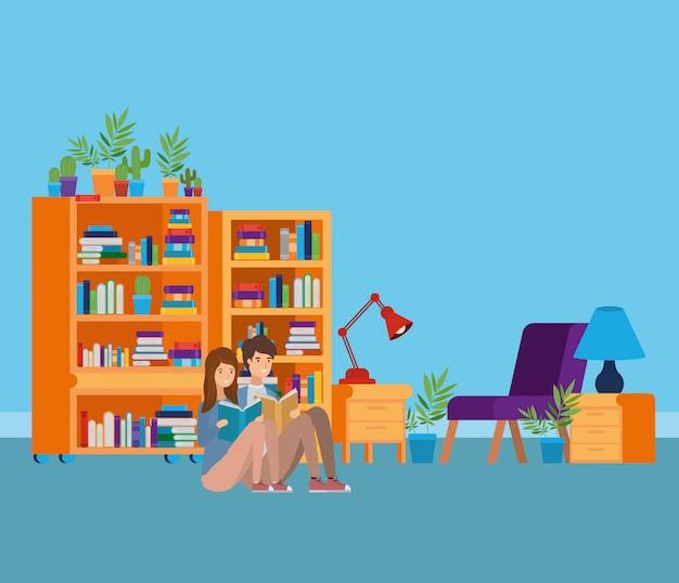Studeerkamer met boeken Gratis Vector