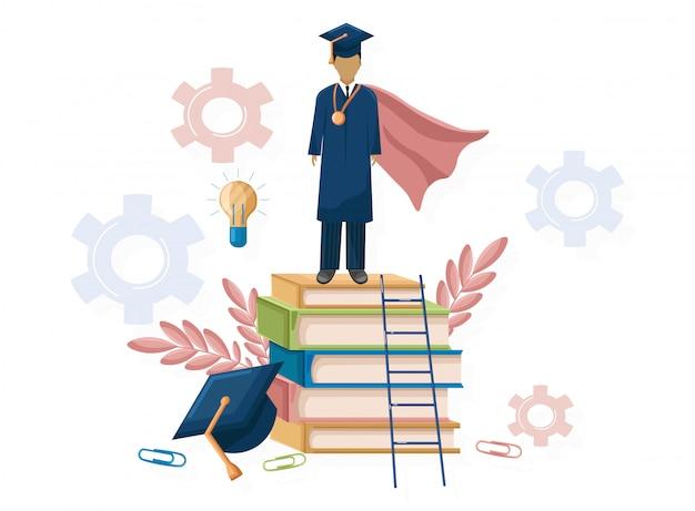 Student afstuderen vlakke stijl Premium Vector