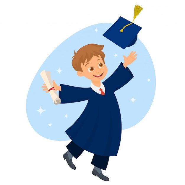 Student die een diploma houdt en een afstudeerhoed werpt Premium Vector