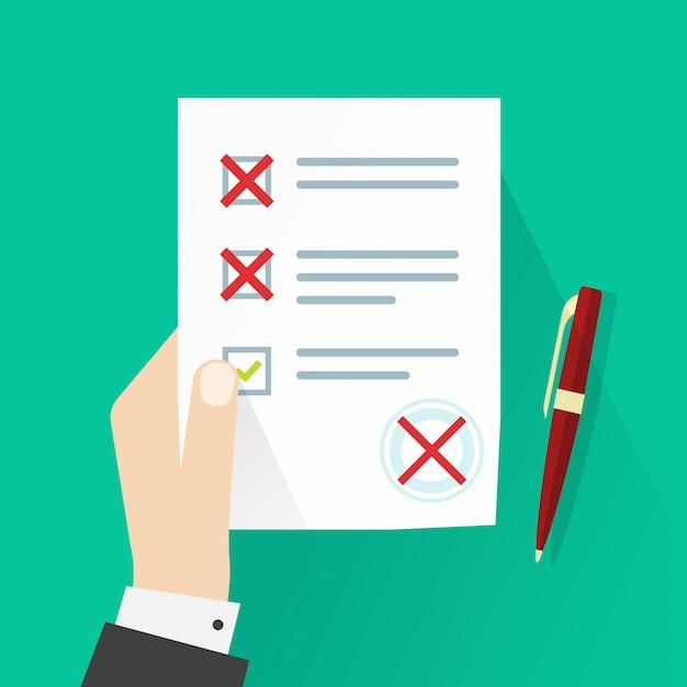 Student die examen papier formulier met mislukte beoordeling vector illustratie flat cartoon Premium Vector