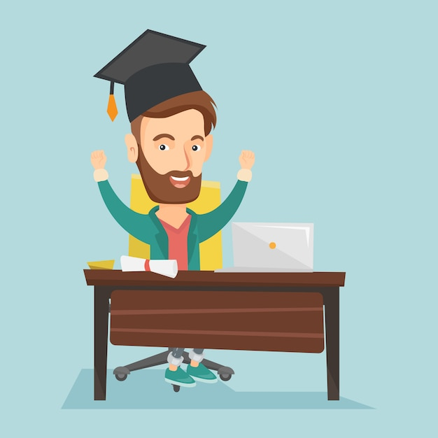 Student die laptop voor onderwijs met behulp van. Premium Vector