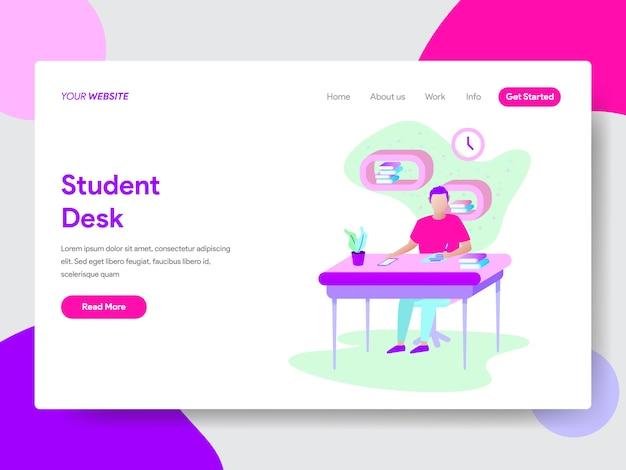 Student die op het concept van de bureauillustratie voor web-pagina's leert Premium Vector