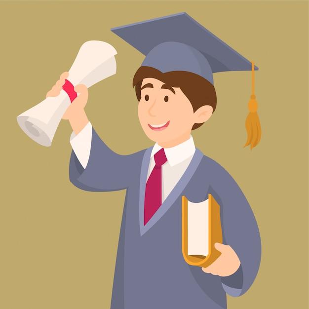 Student in graduatietoga en glb-holdingsdiploma Premium Vector