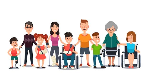 Student kind jongen in rolstoel, man met handicap en ouderen op krukken cartoon plat Premium Vector