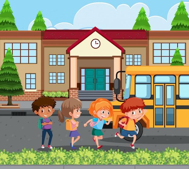 Student naar huis met de schoolbus Premium Vector