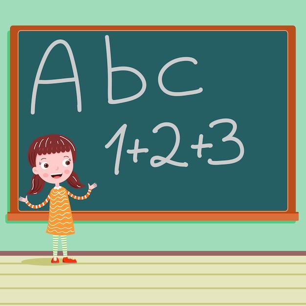 Student op het bord in klaslokaal abc brief Premium Vector