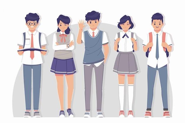 Student uniforme karakter collectie dragen Premium Vector