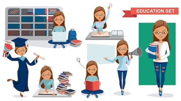 Studente. student women of education ingesteld. student activiteit concept. Premium Vector