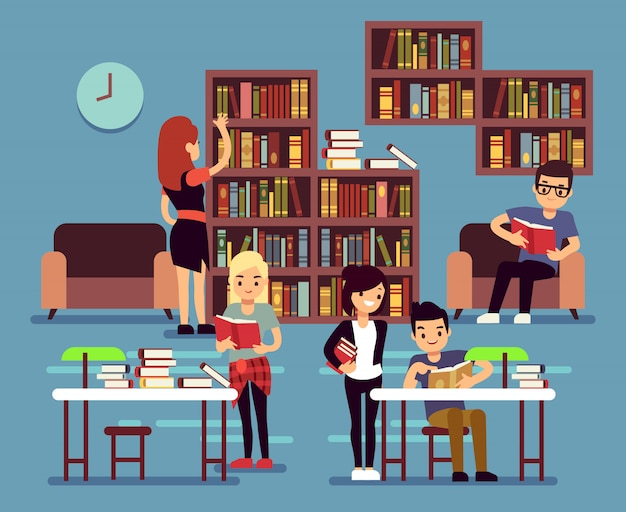 Studenten bestuderen in bibliotheekinterieur Premium Vector