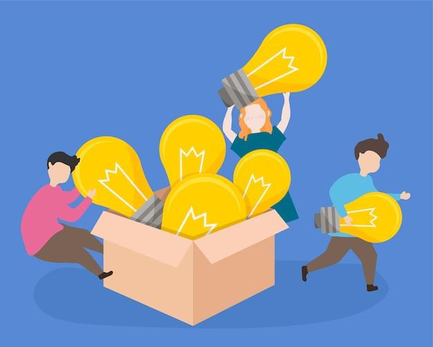 Studenten brengen creatieve ideeën naar de klas Gratis Vector