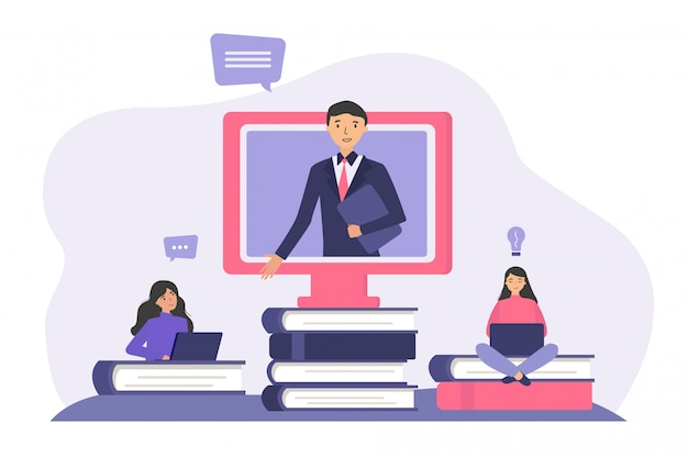 Studenten die online studeren Gratis Vector
