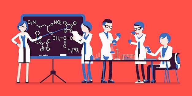 Studenten in het lab in verschillende poses Premium Vector