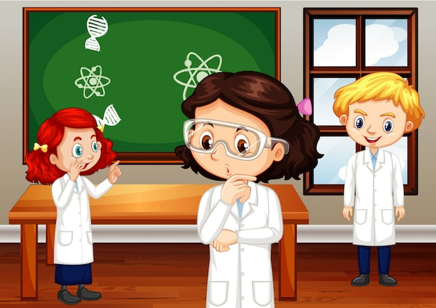 Studenten in wetenschapstoga die zich in klaslokaal bevinden Gratis Vector