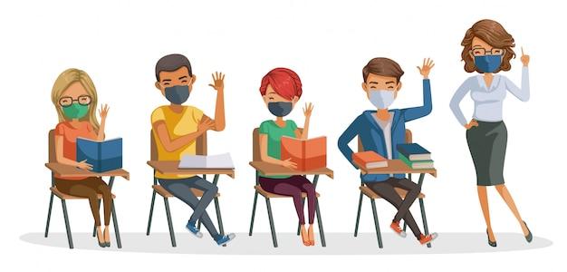 Studenten maskeren met lerarenmasker. leer en studeer in de klas. terug naar school voor een nieuw normaal concept. coronavirus gerelateerd. Premium Vector