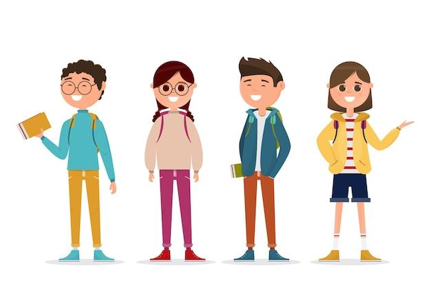 Studenten met een ander karakter Premium Vector