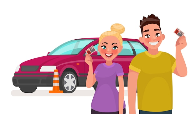 Studenten met een rijbewijs en een trainingswagen Premium Vector
