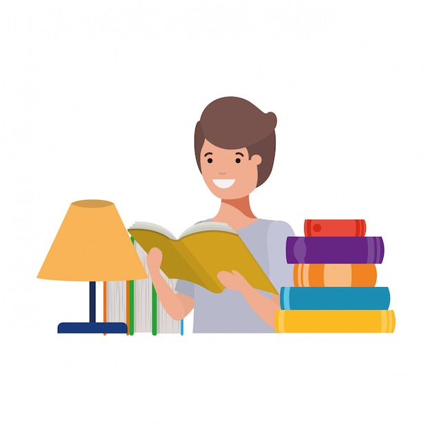 Studentenjongen met lezingsboek in de handen Gratis Vector