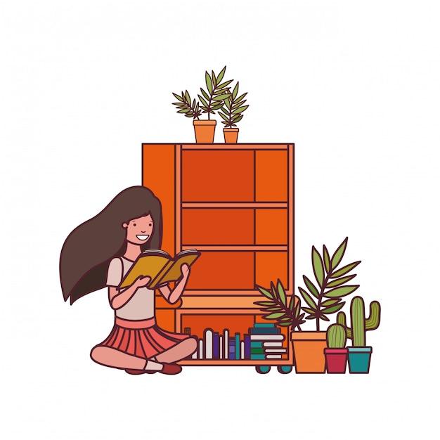 Studentenmeisje met lezingsboek in de handen Gratis Vector